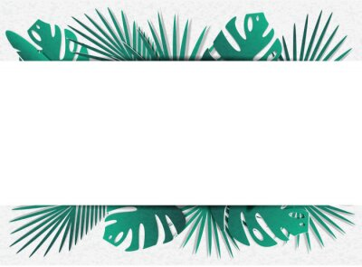 Vector illustration of a lot of tropical leaves. In the style of cut paper. In the middle is a place for text