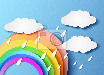 Vector illustration of a rainbow with clouds and rain. In the style of cut paper