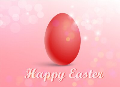 Vector illustration of a red egg on a festive background in minimal style with the inscription Happy Easter