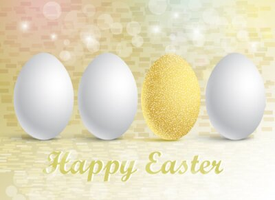 Vector illustration of a set of eggs on a festive background with a Happy Easter greeting