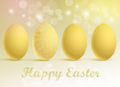 Vector illustration of a set of golden eggs on a festive background with a Happy Easter greeting