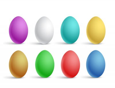 Vector illustration of a set of realistic multicolored easter eggs on a white background
