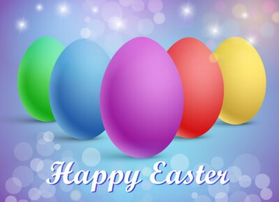 Vector illustration of a set of traditional colorful eggs on a festive background with a Happy Easter greeting