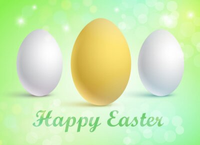 Vector illustration of a set of traditional eggs on a festive background with a Happy Easter greeting