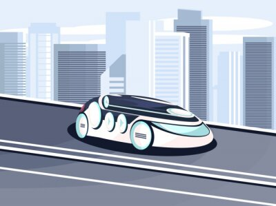 Vector illustration of a smart and eco-friendly car of the future without a driver on a moving road in a futuristic city