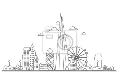 Vector illustration of abstract London skyline with skyscrapers and office buildings.
