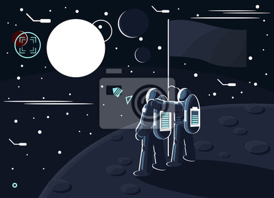 Vector illustration of astronauts standing together on the moon or another planet near the flag and dreaming to conquer Mars.
