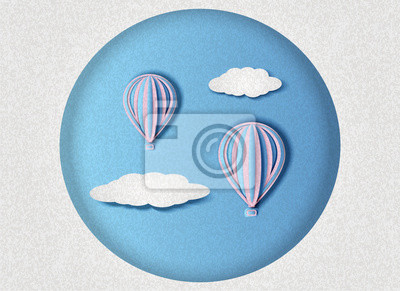 Vector illustration of balloons flying in the sky among the clouds in paper cut style
