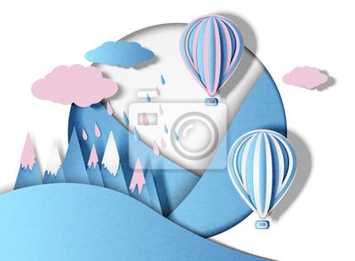 Vector illustration of balloons with multi-colored clouds and rain in minimal style. Paper cut