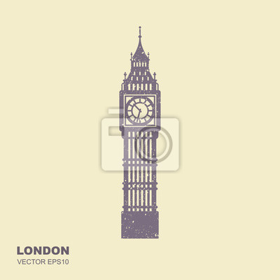 Vector Illustration of Big Ben Tower. Flat icon with scuffed effect