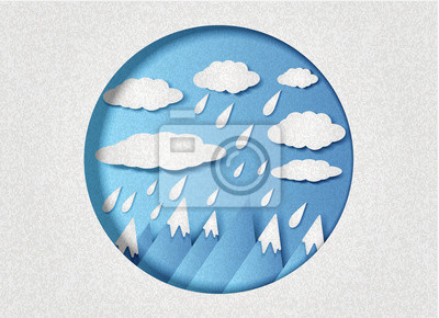 Vector illustration of clouds with rain over the mountains in minimal style. Paper cut