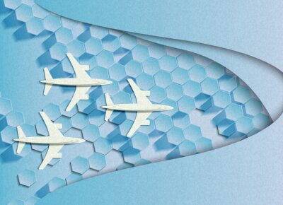Vector illustration of flying planes concept of team work or competition or other. In the style of cut paper