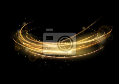 Sticker Vector illustration of golden abstract transparent light effect isolated on black background, round sparcles and light lines in golden color. Abstract background for science, futuristic, energy