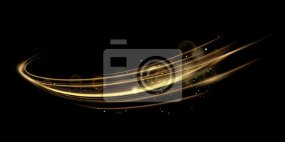 Sticker Vector illustration of golden dynamick lights linze effect isolated on black color background. Abstract background for science, futuristic, energy technology concept. Digital image lines with light