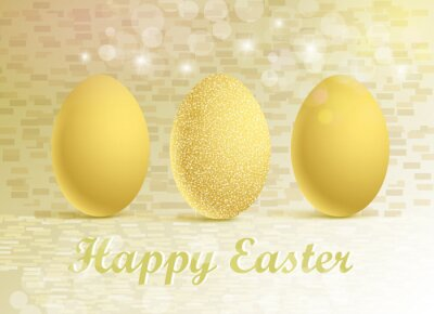 Vector illustration of golden eggs on a festive background with a Happy Easter greeting
