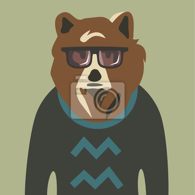 Vector illustration of hipster bear in sweater and glasses
