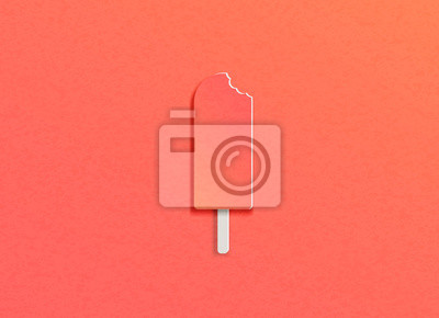 Vector illustration of ice cream with bite marks on the trendy background of the color of live coral in the style of cut paper