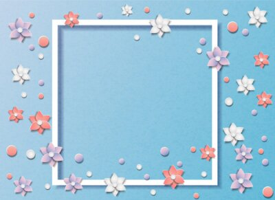 Vector illustration of many flowers or floral abstract background. In the style of cut paper. In the middle of the frame for text