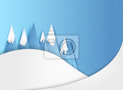 Vector illustration of mountains in the snow in winter in minimal style. Paper cut