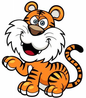 Sticker Vector illustration of Tiger cartoon