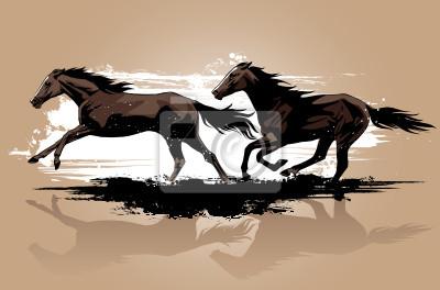 Vector illustration of wild horses running