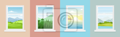 Sticker Vector illustration set of windows with different landscapes. Town and sea, forest and mountains views from the windows in flat cartoon style.