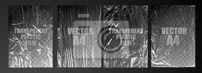 Sticker vector illustration. texture transparent stretched film polyethylene. vector design element graphic rumpled plastic warp