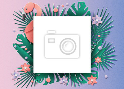 Vector illustration with a lot of tropical plants and flamingos. In the style of cut paper.