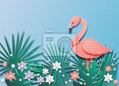 Vector illustration with a lot of tropical plants and flamingos. In the style of cut paper