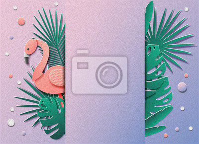 Vector illustration with a lot of tropical plants and flamingos. In the style of cut paper. In the middle there is space for the test