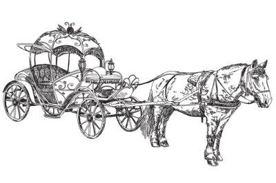 Vector illustratoin-schönen Wagen mit Pferd