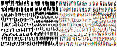 Sticker vector isolated people silhouettes set