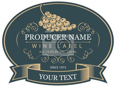 Sticker Vector Label für eine Flasche Wein mit Trauben im ovalen Rahmen mit Tape im Retro-Stil