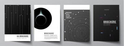 Sticker Vector layout of A4 format cover mockups design templates for brochure, flyer layout, booklet, cover design, book design, brochure cover. Tech science future background, space astronomy concept.