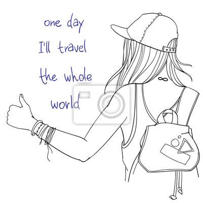 """Vector Line Kunst Illustration - Tramper Mädchen mit Rucksack versucht, einen Lift mit Daumen nach oben, Rückansicht, mit Worten """"Eines Tages werde ich die ganze Welt reisen"""""""