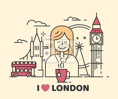 Vector London-Ikone mit Mädchen und Tee.