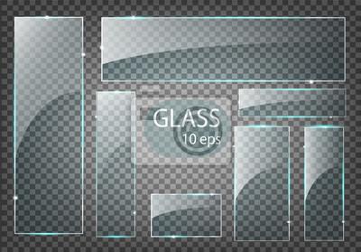 Sticker Vector modern transparent glass plates set on sample background.