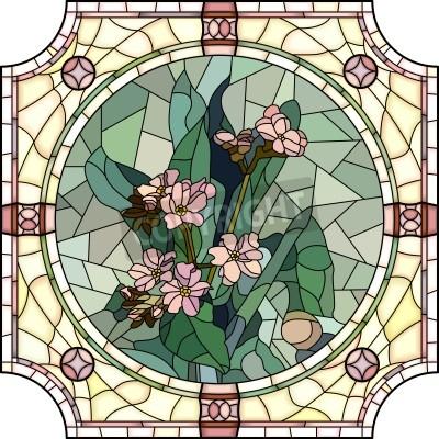 Sticker Vector Mosaik mit großen Zellen von Blumen Vergissmeinnicht mit Knospen in runde Buntglasfensterrahmen.
