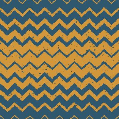 Sticker Vector Nahtlose blaue gelbe Farbe Hand gezeichnete horizontale Gradient Halbton ZigZag verzerrte Linien Grungy ethnischen Muster