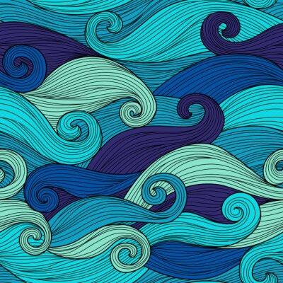 Sticker Vector nahtlose Muster mit abstrakten Wellen