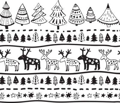 Sticker Vector nahtlose Muster mit handgezeichneten Weihnachten Elemente