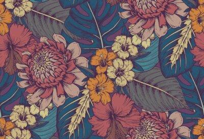 Sticker Vector nahtlose Muster mit Kompositionen von Hand gezeichnet tropischen Blumen
