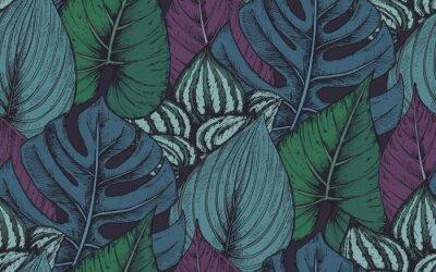 Sticker Vector nahtlose Muster mit Kompositionen von Hand gezeichnet tropischen Pflanzen