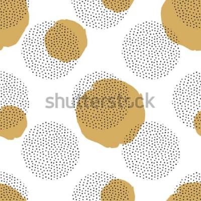 Sticker Vector nahtloses Muster mit Runde punktierten Elementen und goldenen Kreisen. Modischer Memphis-Hintergrund.