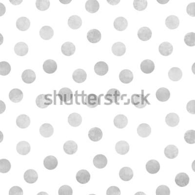 Sticker Vector nahtloses Muster von grauen Aquarellkreisen auf einem weißen Hintergrund
