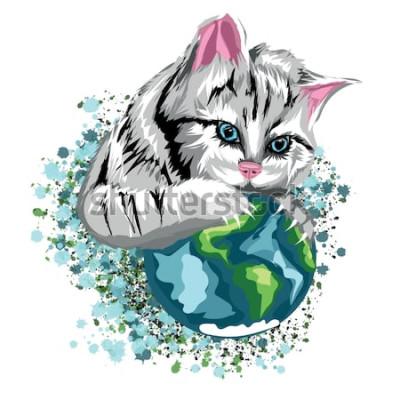 Sticker Vector ökologische Welt der Katze mit den katzenartigen Planeten- und Schneestellen, graue Katze mit blauen Augen.