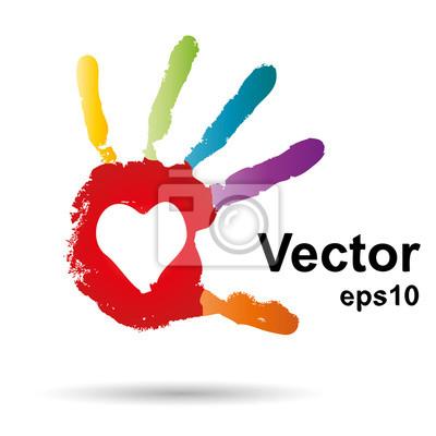 Vector Onceptual Kinder Gemalt Handabdruck Und Herzen Isoliert