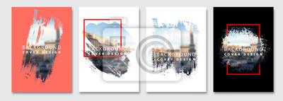 Sticker Vector paint brush clipping masks for flyer, presentation, brochure, banner, poster design. City blur background.