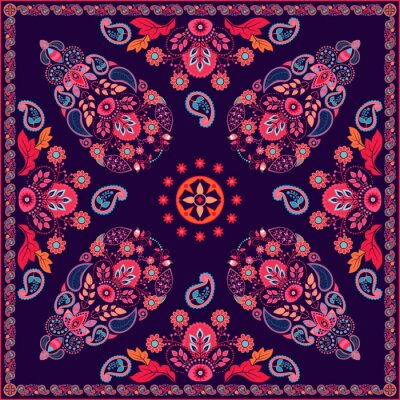 Sticker Vector Paisley floralen Platz Design