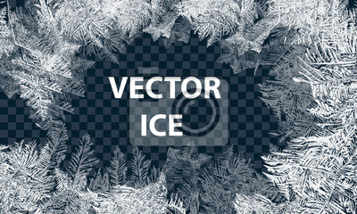 Sticker Vector Patterns Made by the Frost. Blue Winter Background for Christmas Designs. Typographic Label for Xmas Holiday Greeting Cards, Party Banners and Posters. Icy Abstract Background.